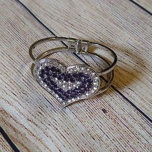 Jewelry - Purple & Silver Heart Rhinestone Cuff Bracelet